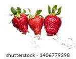 ripe strawberries on a light...   Shutterstock . vector #1406779298