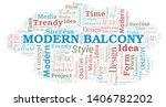 modern balcony word cloud.... | Shutterstock .eps vector #1406782202