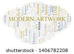 modern artwork word cloud.... | Shutterstock .eps vector #1406782208