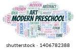 modern preschool word cloud.... | Shutterstock .eps vector #1406782388