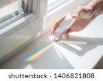 Transparent prism for light education expriments in a man
