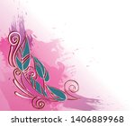 ornament on a pink watercolor... | Shutterstock .eps vector #1406889968
