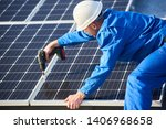 male engineer in blue suit and... | Shutterstock . vector #1406968658