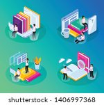 online library isometric glow... | Shutterstock .eps vector #1406997368