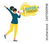 refer a friend concept. woman... | Shutterstock .eps vector #1407000908