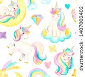 seamless pattern with unicorns. ...   Shutterstock . vector #1407002402