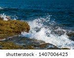 Waves In Ocean Splashing Waves...