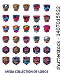 rhinoceros logos. set of 30 ... | Shutterstock .eps vector #1407015932