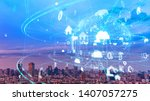 global communication network... | Shutterstock . vector #1407057275