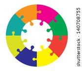 eight piece jigsaw wheel in...   Shutterstock .eps vector #140708755