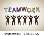 teamwork silhouette over gray... | Shutterstock .eps vector #140710732