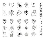 set of map icons world pin... | Shutterstock .eps vector #1407139712