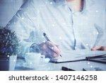 human hands with tech theme... | Shutterstock . vector #1407146258