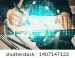 social network theme hologram...   Shutterstock . vector #1407147122