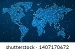 world map plexus   global... | Shutterstock .eps vector #1407170672