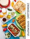 mexican style baked cod with...   Shutterstock . vector #1407204062