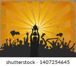 cheering crowd. champions cup....   Shutterstock . vector #1407254645