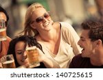 attractive young woman drinking ... | Shutterstock . vector #140725615