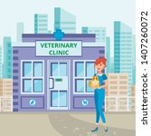 Stock vector pet care service in townscape flat illustration veterinary clinic building pet lover and fluffy 1407260072