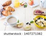 breakfast on a wooden simple... | Shutterstock . vector #1407271382