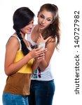 young beautiful girls using the ... | Shutterstock . vector #140727982