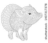 Coloring page. Anti stress colouring picture with cute pig as ballet dancer. Freehand sketch drawing with doodle and zentangle elements.