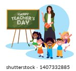 happy day card with teacher... | Shutterstock .eps vector #1407332885