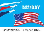 happy memorial day card with... | Shutterstock .eps vector #1407341828
