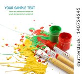 colorful paints and artist... | Shutterstock . vector #140734345