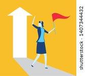 businesswoman with flag arrow...   Shutterstock .eps vector #1407344432