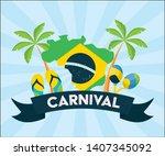 map flag maracas sandals palms...   Shutterstock .eps vector #1407345092