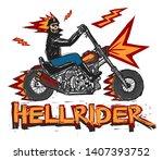 burning skull hell rider... | Shutterstock .eps vector #1407393752