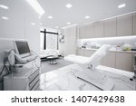 Hospital interior with operating surgery table, lamps and ultra modern devices, technology in modern clinic.