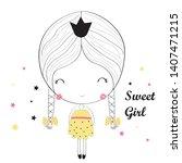 sweet girl t shirt print design....   Shutterstock .eps vector #1407471215