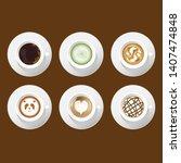 cafe mock up. coffee art latte...   Shutterstock .eps vector #1407474848