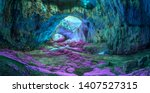 Small photo of Extraterrestrial panoramic view inside mystic cave. Davetashka cave in Bulgaria
