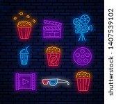 cinema  bright neon signs ... | Shutterstock .eps vector #1407539102