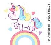 illustrator of cute unicorn... | Shutterstock .eps vector #1407550175