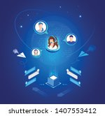 vector template for website and ... | Shutterstock .eps vector #1407553412