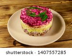 Stock photo traditional russian salad herring under a fur coat shuba on wooden table layered salad with 1407557285