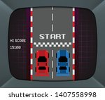 arcade machine screen with...   Shutterstock .eps vector #1407558998