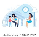 mother with kids on... | Shutterstock .eps vector #1407610922