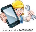 a plumber  mechanic or handyman ... | Shutterstock .eps vector #1407610988
