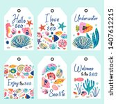 set of underwater sea life tags ...   Shutterstock .eps vector #1407612215