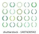 collection of green laurel... | Shutterstock .eps vector #1407630542