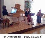 Small photo of BRNO, CZECH REPUBLIC - CIRCA MARCH 2018: harpsichord, viola da gamba (aka viol) and baroque flute trio