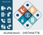 receiver icon set. 13 filled... | Shutterstock .eps vector #1407646778