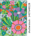 1960s  1970s floral background  ... | Shutterstock .eps vector #1407648128