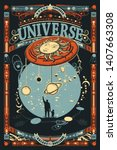 human and universe. father and... | Shutterstock .eps vector #1407663308