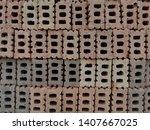 stack of construction red bricks | Shutterstock . vector #1407667025